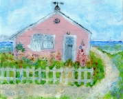 pink house by sea